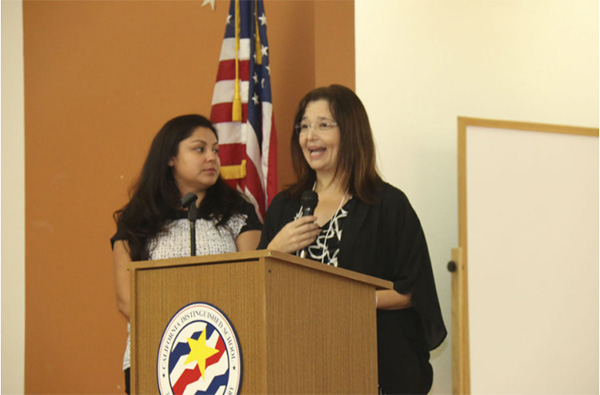 FROM RIGHT: Elvia Cortes, mental health professional, with Family Mental Health (FINE Inc.), keynote speaker at the third annual Parent Conference at Waggoner Elementary School in Imperial on Saturday aimed to help parents of developmentally disabled children work their way through the web of resources that helps them succeed in life.