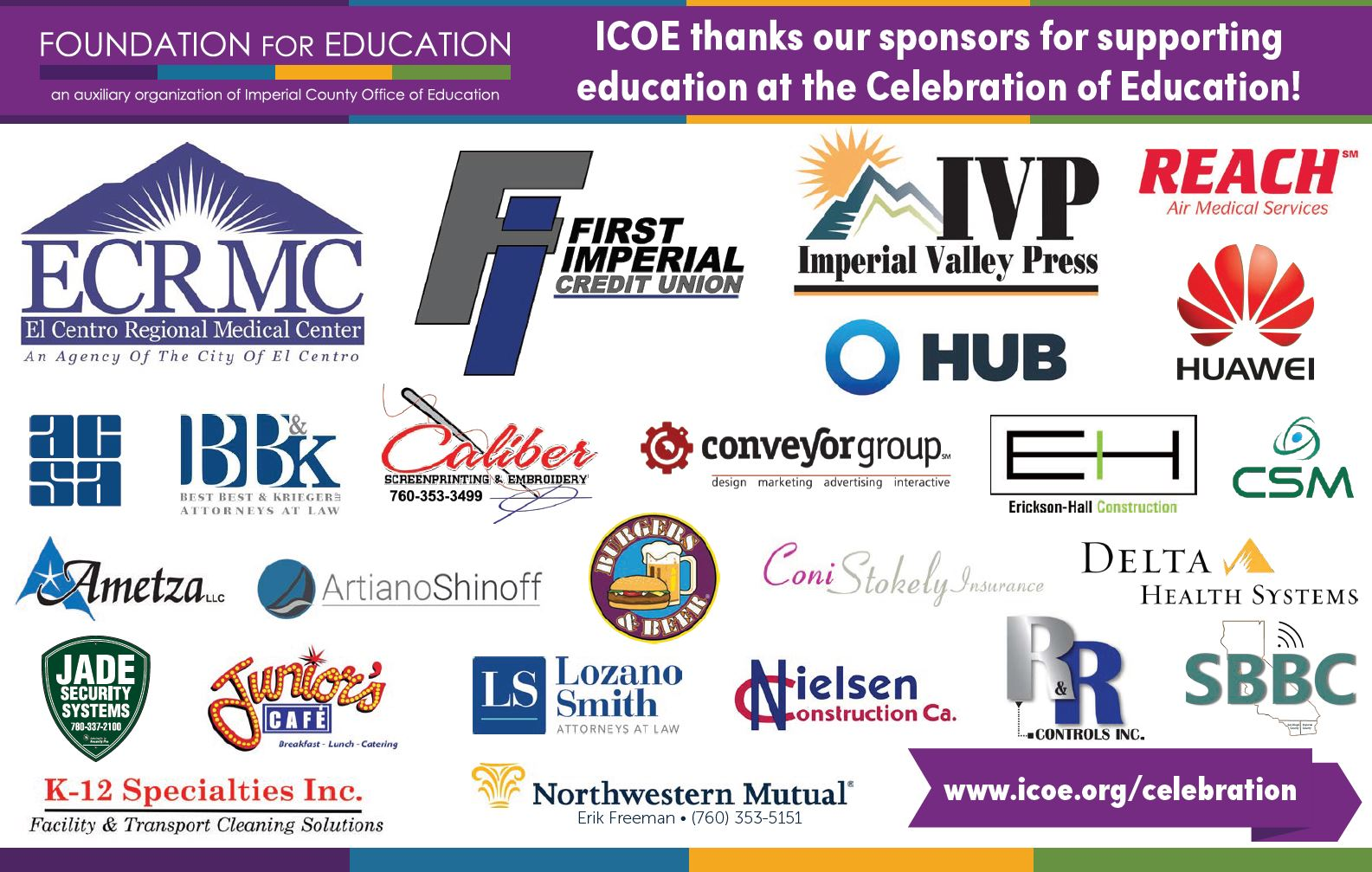 2019 Celebration of Education Sponsors