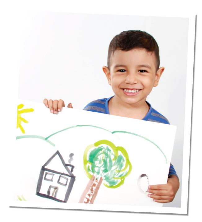 Preschool Boy holding a Drawing