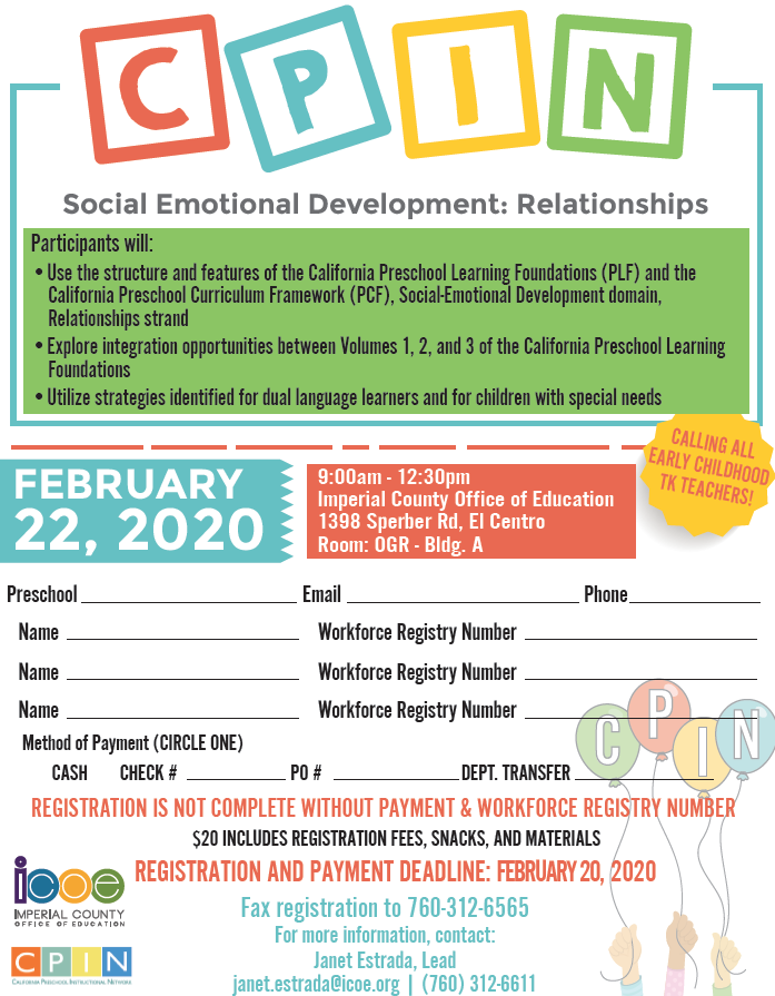 Social Emotional Development: Relationships Flyer