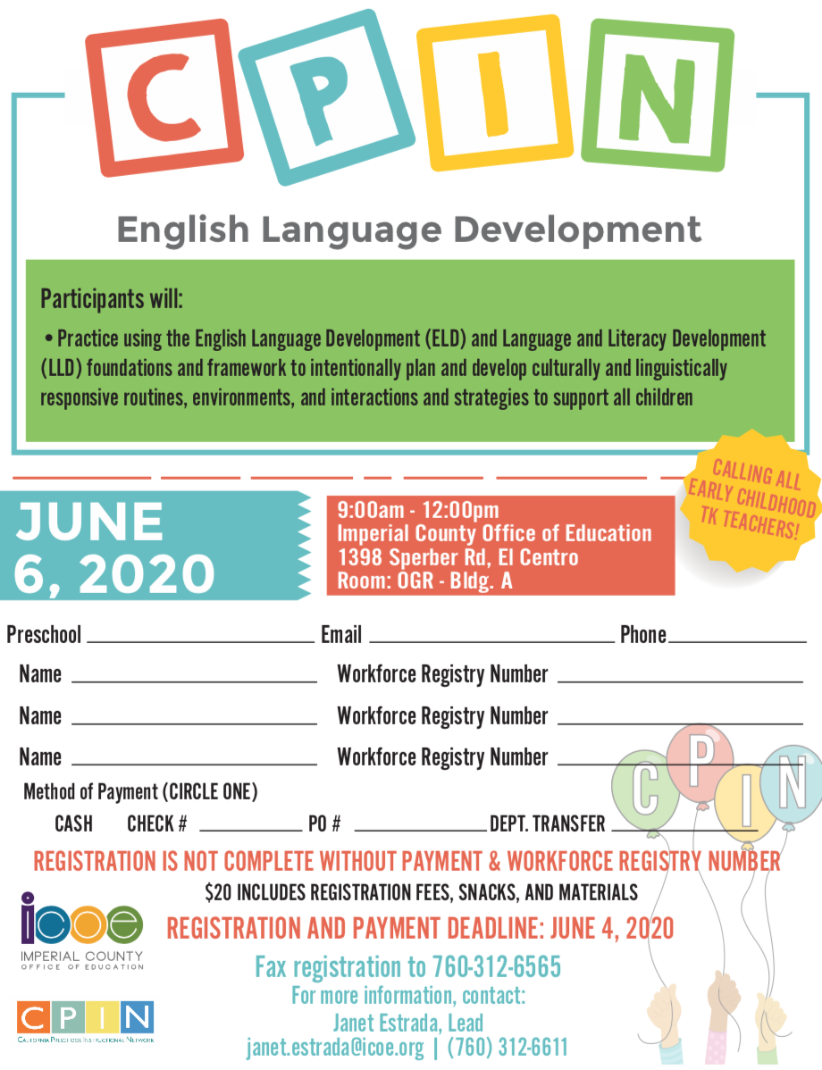 English Language Development Flyer