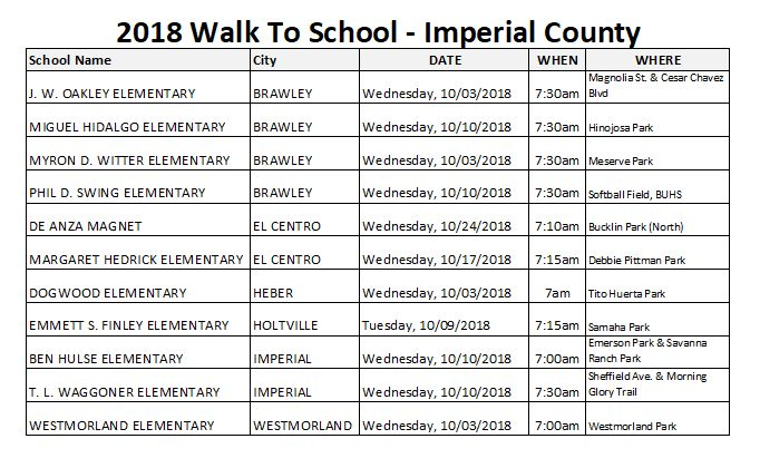 Listing of walk-to-school events