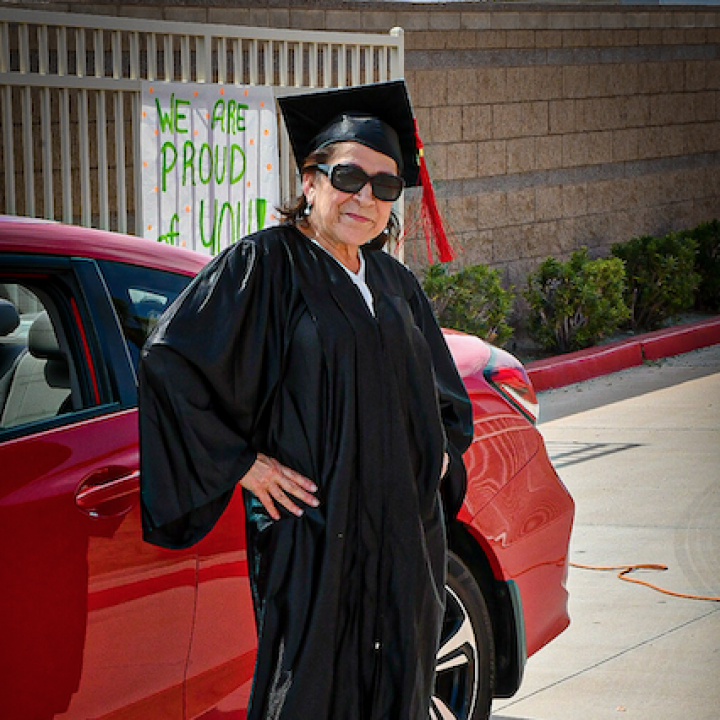 Graduate Wearing Cap and Gown